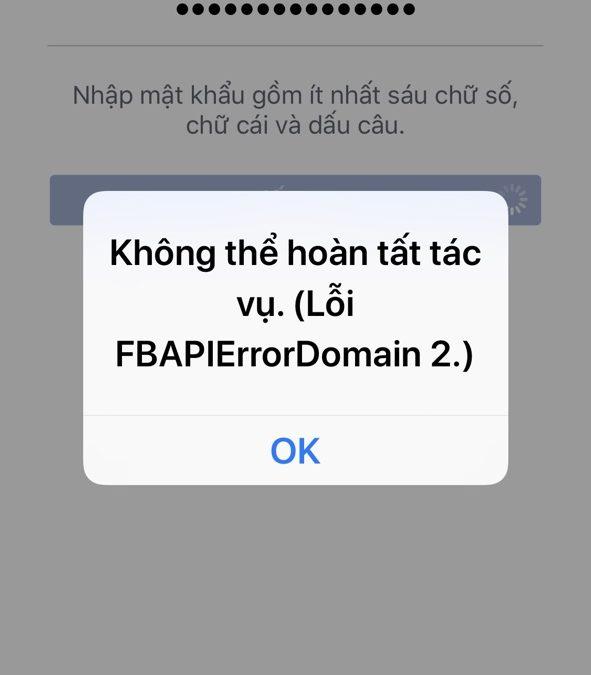Bị lỗi fbapierrordomain 2 không cho đổi mật mã